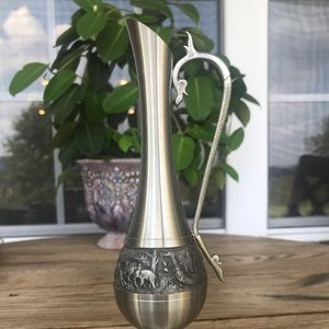 Vintage Thailand Pewter Vase with Handle